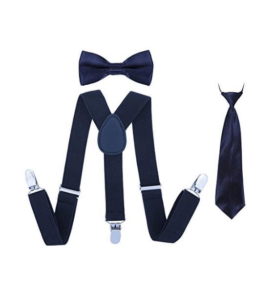 complet dans les spécifications nouvelle sélection 100% authentifié Willy – Kit Bretelles et Nœud Papillon / Cravate pour Enfant – 3 Clips –  Bleu Marine Uni