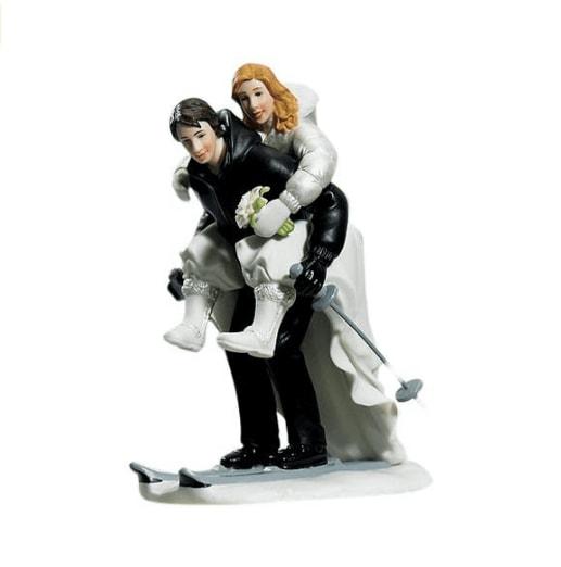 Figurine Mariés Marié à Ski Qui Porte La Mariée Humour Déco Gâteau Mariage