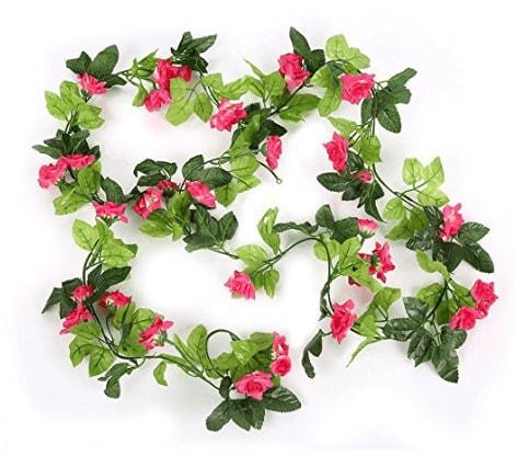 Fleurs artificielles en soie guirlande de feuille de for Guirlande fleurs artificielles