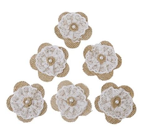 Fleurs Artificielles Fleur En Toile De Jute Dentelle X 6 Diy