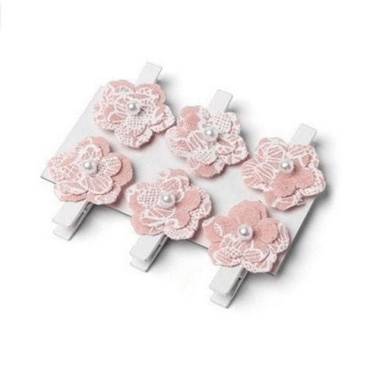 marque place pinces fausse fleur en lin x 6 vieux rose mariage romantique mon mariage. Black Bedroom Furniture Sets. Home Design Ideas